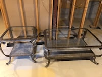 Coffee table and end table wrought iron and glass Richmond Hill