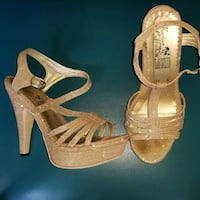 pair of gold open-toe heeled sandals Portland, 97203