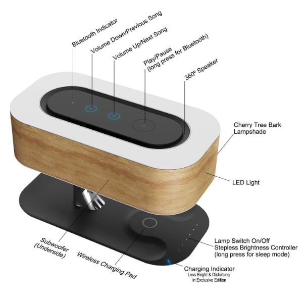 Masdio by Ampulla Bedside Lamp with Bluetooth Speaker and Wireless Charger