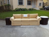 brown fabric 3-seat sofa plus end tables
