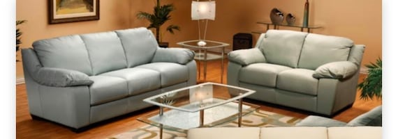 Leather sofa, loveseat and accent chair