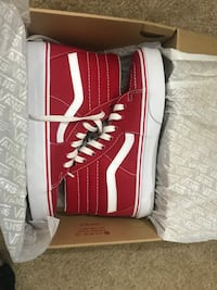 Red-and-white vans sk8-hi sneakers with brown box