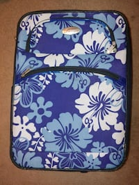 Bovano rolling suitcase luggage blue floral pattern