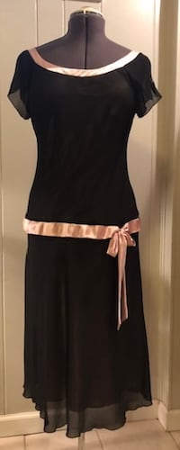 Sz 12 Reproduction 1920's Black & Pink Satin Edged Dress 26 km