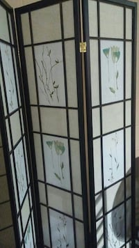 brown and green floral space divider