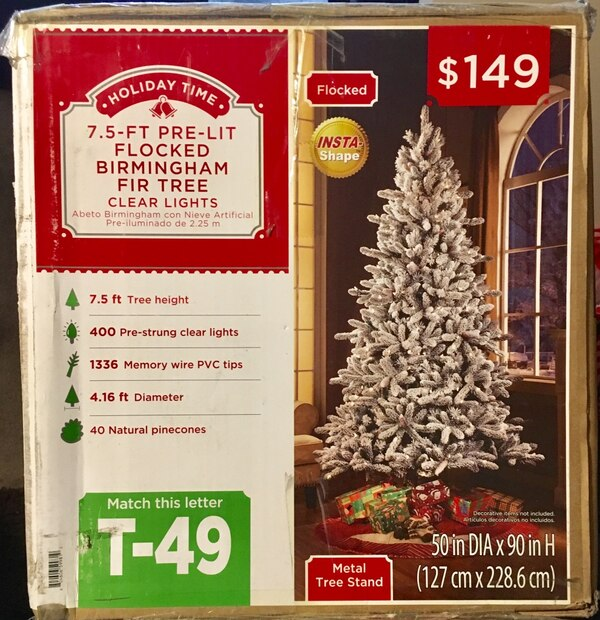 Brand New 7.5 foot Pre Lit Flocked  Christmas Tree