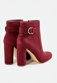 Burgundy fall booties, lush faux suede. Size 9 and 9.5