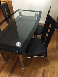 black glass top table and chair set
