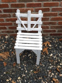Small white wood chair and crate decor only Mendon, 01756