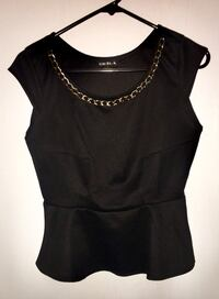 Black shirt with gold chain neck line size small Edmonton, T5A