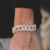 Diamond Prong Link Bracelet (19mm) in Yellow Gold negotiable Surrey