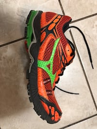 orange and green mizuno running shoe Vancouver, V6E 2E5