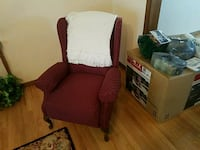 brown fabric sofa chair with throw pillow Oregon