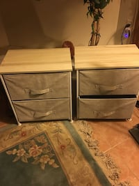 2 Brown wooden 2-drawer chest