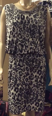 Dressbarn black & white leopard print sleeveless dress Calgary, T2J