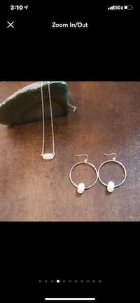 Silver/White Earrings and Necklace Set