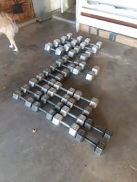 DUMBELLS.  $ .80 CENTS PER POUND.  SERIOUS BUYERS ONLY. PLEASE