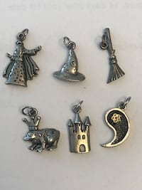 "Vintage pewter ""fairytale"" charms (6) Laval, H7W"