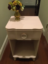 wooden single-drawer side table dusty rose
