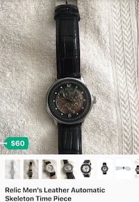 round black chronograph watch with black leather strap screenshot Long Beach, 90802