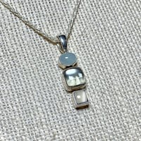 Vintage Sterling Silver Moonstone Pendant with Sterling Chain