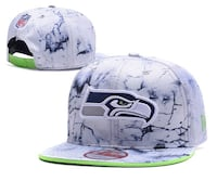 white and blue Seahawks fitted cap Warner Robins