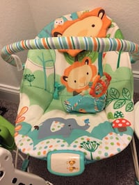 baby's white and teal animal print bright sides bouncer Chesapeake, 23323