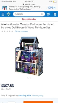 Maxim monster Mansion Dollhouse. Furnished haunted doll house