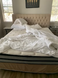 white bed sheet and white wooden bed frame San Jose, 95123