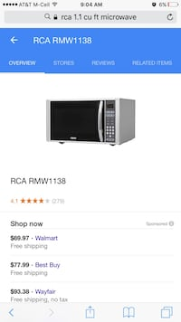 Gray rca rmw1138 microwave oven screenshot Germantown, 20874