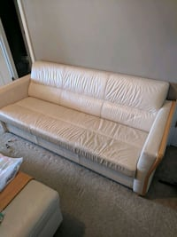 Leather couch with Ottoman