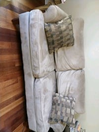 Set of 2 - Brown suede couches with pillows Mississauga, L5N 8N2