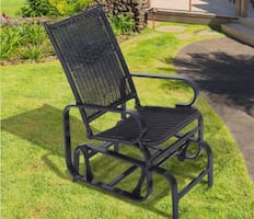 Outsunny Outdoor Antique Aluminum Wicker Gliding Chair - Black