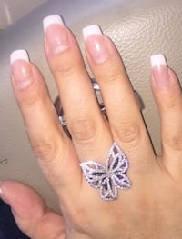 Stunning Large Butterfly Ring w/ Whit and Black Sapphires in 925 Sterling Silver SALE!!!!!!!!! Coleman, 76834