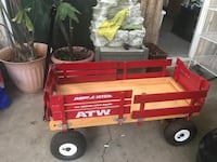 red and brown Radio Flyer wagon
