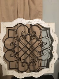 Distressed wood and metal wall art