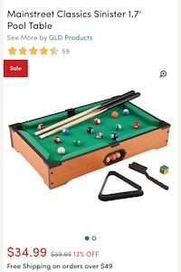 Mainstreet Classic Sinister 1.7' Pool table for kids Omaha