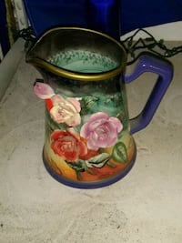 blue and red floral embossed ceramic pitcher Hallsboro, 28442