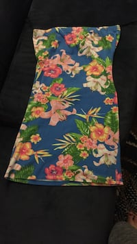 women's blue, pink, and green floral tube dress Edmonton, T6C 2L3