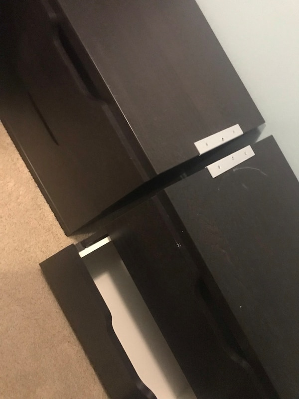 Black and white wooden drawers