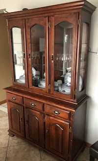 brown wooden framed glass china cabinet Toronto, M4W
