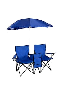 Picnic Double Folding Table Chair With Umbrella Ta