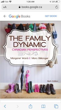 The Family Dynamic a Canadian perspective   Ward and Belanger  London, N6H 4R4