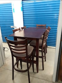 FREE DELIVERY AVAILABLE- BROWN HIGH TABLE SET(6 CHAIRS) - GREAT COND