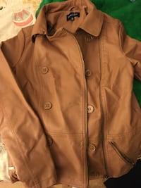 brown leather double-breasted jacket