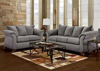 Gray fabric sofa set with coffee table
