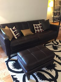 Tufted brown leather sofa, chair and ottoman  New York, 10011