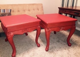 Set of Red Wood Side Tables