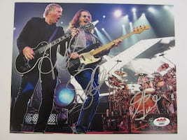 Rush Band Signed 8X10 Photo Certified