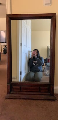 Hanging mirror: large wood frame mirror. Older mirror had for a while. It does have details that are chipped but nothing major. Moving out and just don't need it.  San Leandro, 94577